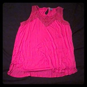 Hot pink lace-topped tank. Cotton.